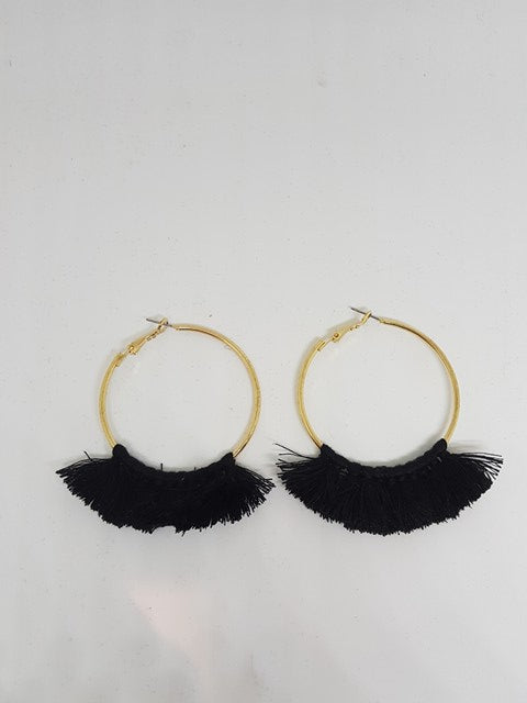 Black Tassel Gold Hoop Earrings - LTE22B