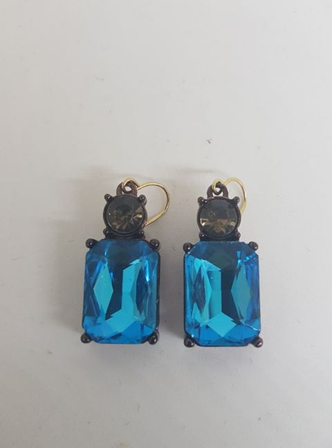 Simple Gem Turquoise And Taupe Earrings - LTE08T