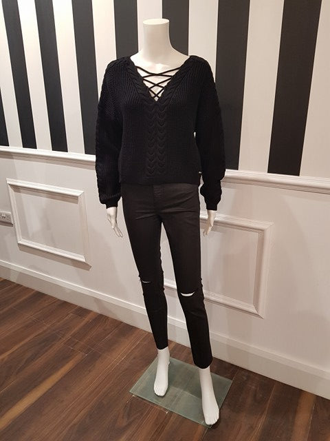Guess Long Sleeve Alina Sweater - Jet Black