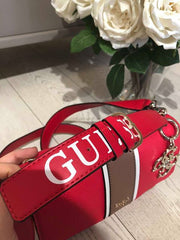 Guess LA Hip Top Handle Flap Handbag - Red Multi