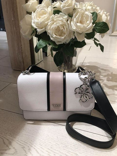 Guess LA Hip Top Handle Flap Handbag - White Multi