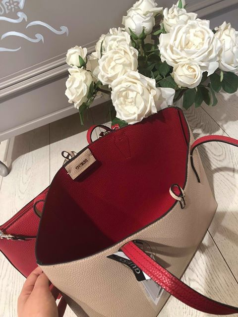 Guess Bobbi Inside Out Tote - Tan/Red