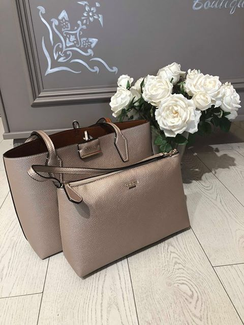 Guess Bobbi Inside Out Tote - Pale Bronze/Cognac