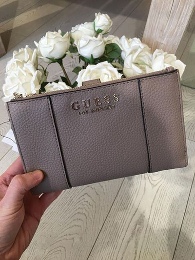 Guess Heidi SLG Double Zip Organiser Purse - Taupe
