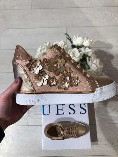 Guess Flower Stivaletto Wedge Sneaker - Rose Gold