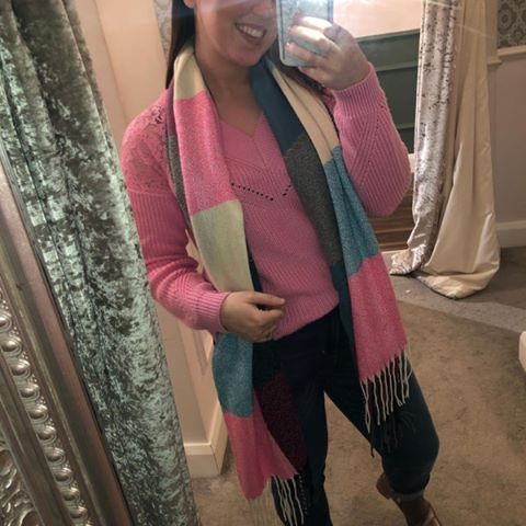 Pink & Turquoise Check Scarf