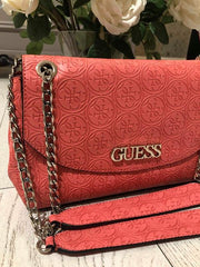 Guess Heritage Pop Convertable X-Body Handbag - Coral