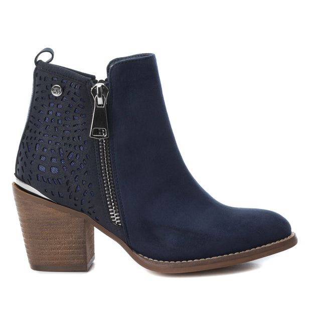 Navy Microfiber Combined Ankle Boot