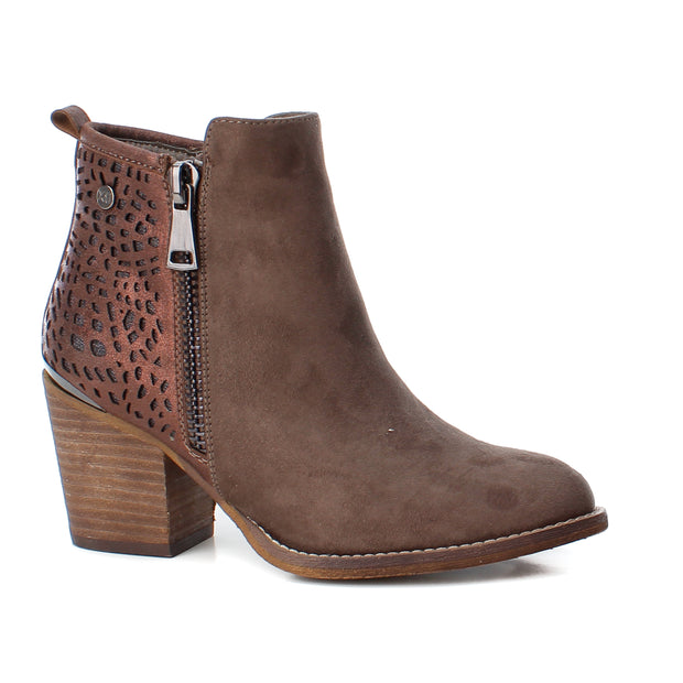 Taupe Microfiber Combined Ankle Boot