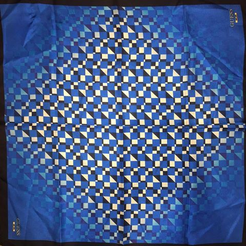 Guess Silk Neck Scarf - Blue Geo Print