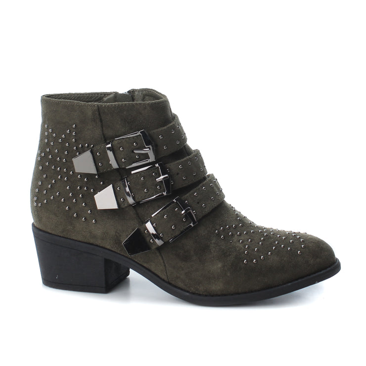 Khaki Microfiber Buckle Ankle Boot