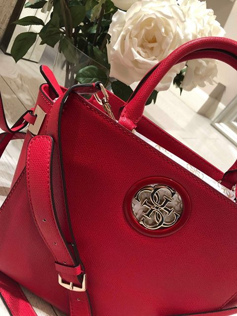 Guess Open Road Society Satchel - CNY Red