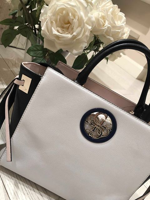 Guess Open Road Society Satchel - White Multi