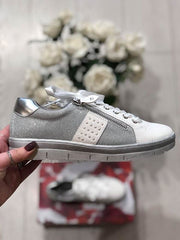 White Metallic Combined Sneaker