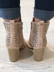 Nude Microfiber Combined Ankle Boots