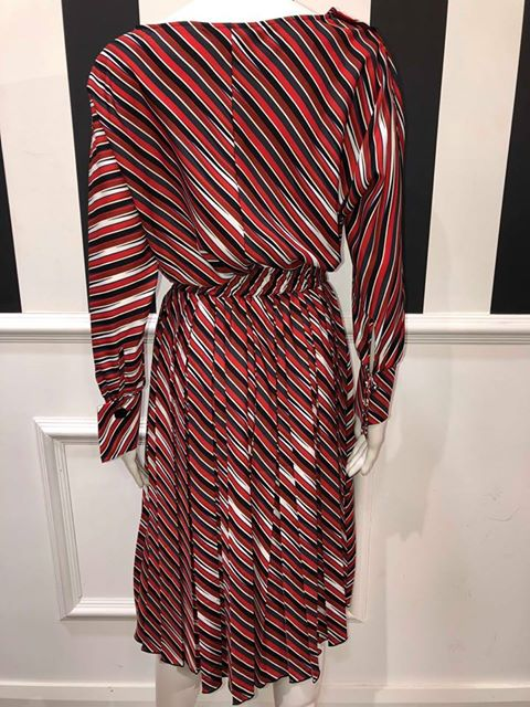 Striped Detail Dress - Red/Navy/White