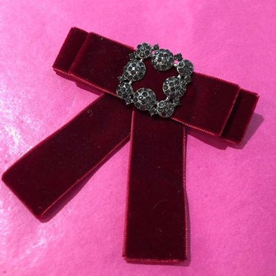 Wine Velvet Bow Brooch