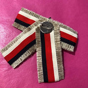 Star Brooch - Cream, Red & Blue