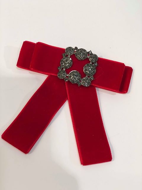 Red Velvet Bow Brooch