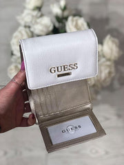 Guess Alma Slg Small Trifold Purse - White Multi