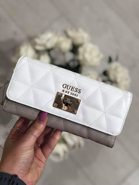 Guess Laiken Slg Large Clutch Organiser Purse - White Multi