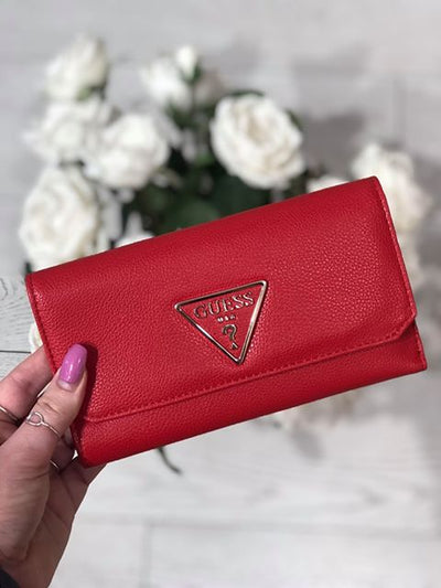 Guess Analise Slg Pocket Trifold Purse - Red