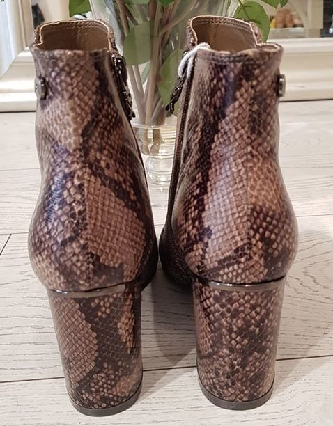 Taupe Snake PU Ankle Boots