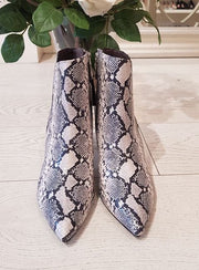 White/Black Snake Print Ankle Boot