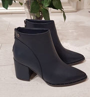 Navy PU Ankle Boot