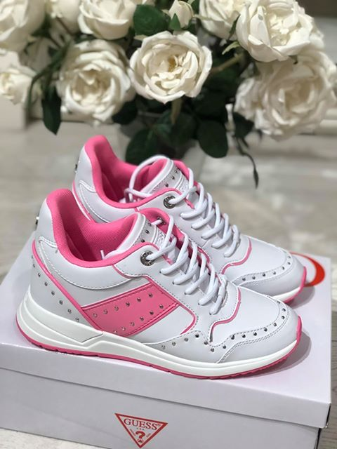 Guess Rejjy Leather Like Sneaker - White & Pink