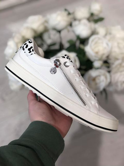 White Patent Sneakers with Leopard Detail