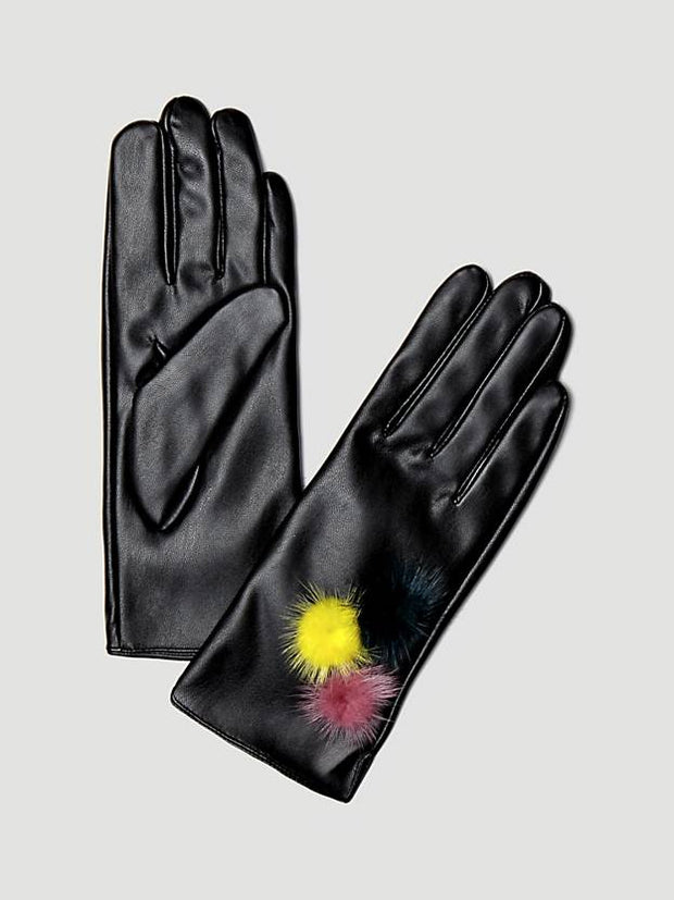 Guess Gloves With Pom Poms - Black