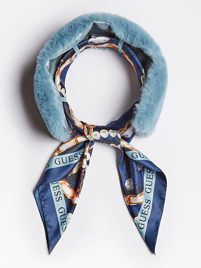 Guess Faux Fur Collar Scarf - Light Blue