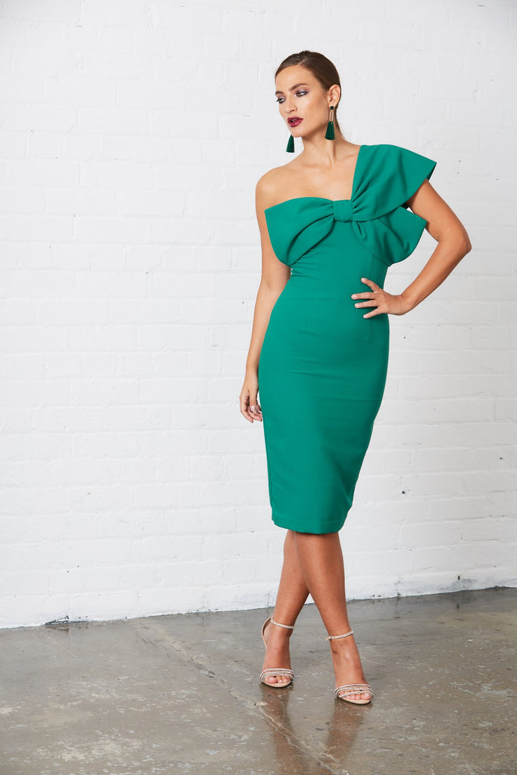 Raphelite One Shoulder Bow Dress - Emerald Green