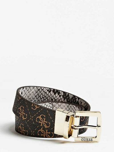 Guess Logo Rock Reversible Logo Belt - Brown Multi