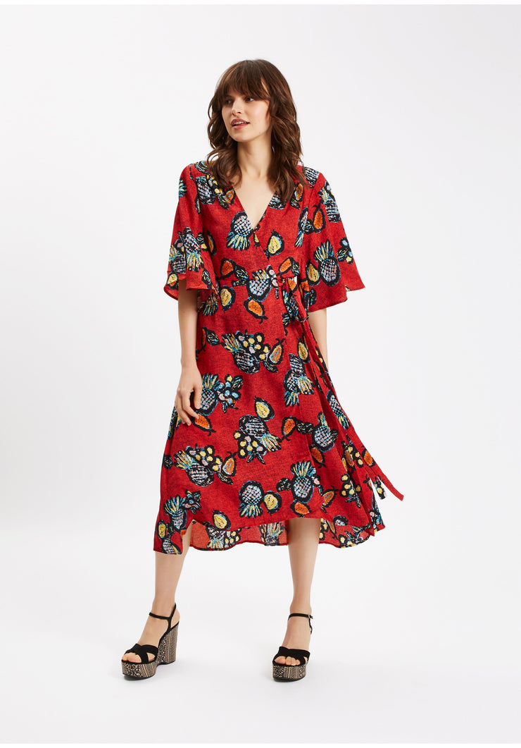 Club Tropicana Wrap Midi Dress