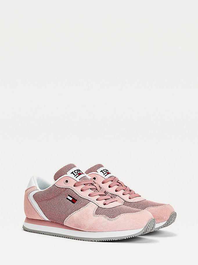 Tommy Hilfiger Suede Mesh Panel Trainers - Iced Rose