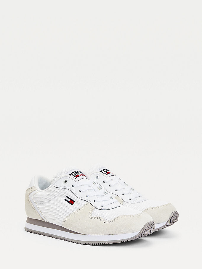 Tommy Hilfiger Suede Mesh Panel Trainers - White