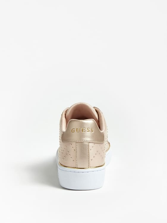 Guess Bikram Sneaker With Micro Studs - Light Natural Beige