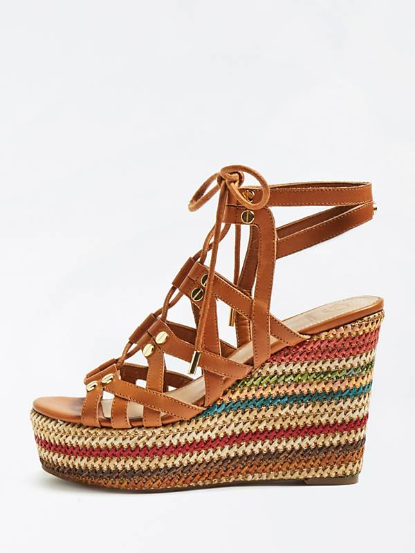 Guess Zeppa Leather Wedge - Nude/Light Brown