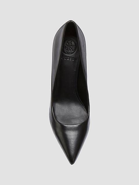 Guess Obella Leather Decollate Heels - Black