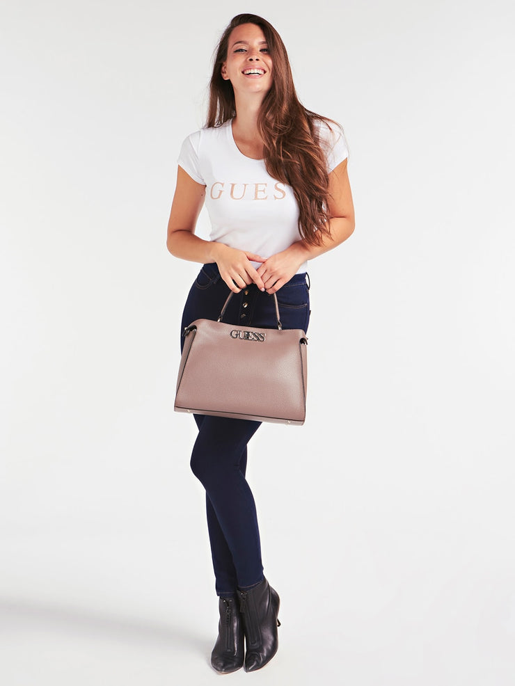 Guess Uptown Chic Turnlock Satchel - Taupe