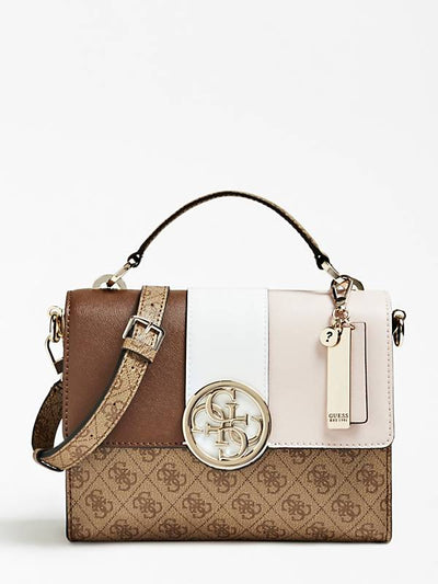 Guess Bluebelle Top Handle Flap Handbag - Brown
