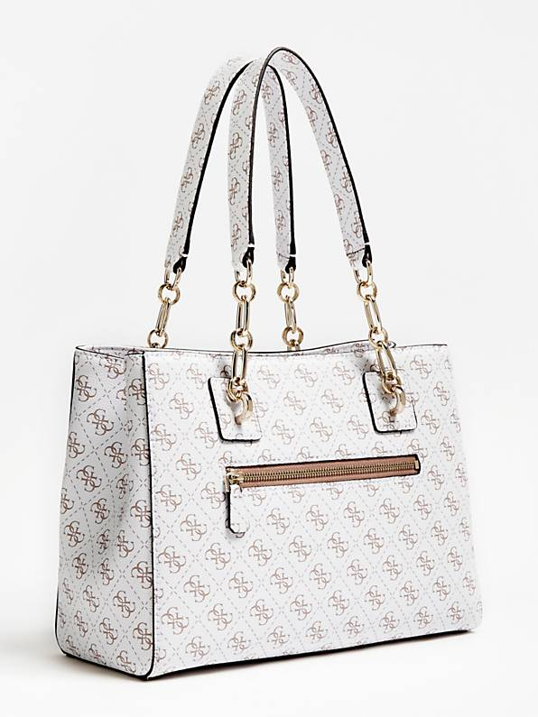 Guess Logo Rock Girlfriend Satchel - White
