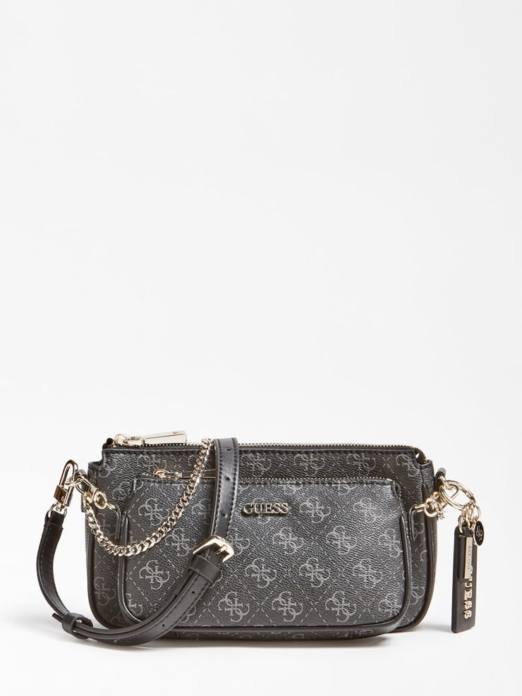 Guess Arie Double Pouch Crossbody Bag - Coal