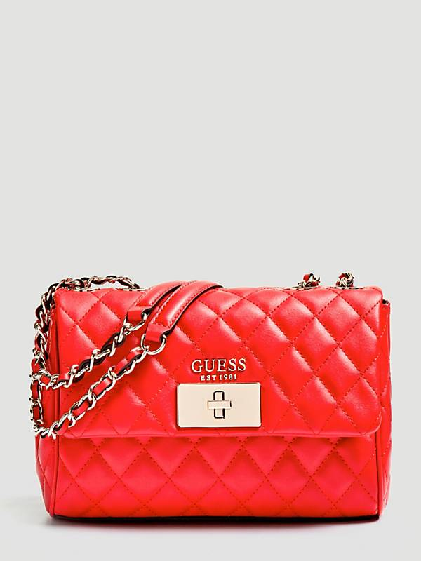 Guess Sweet Candy Convertable X-Body Flap Handbag - Red