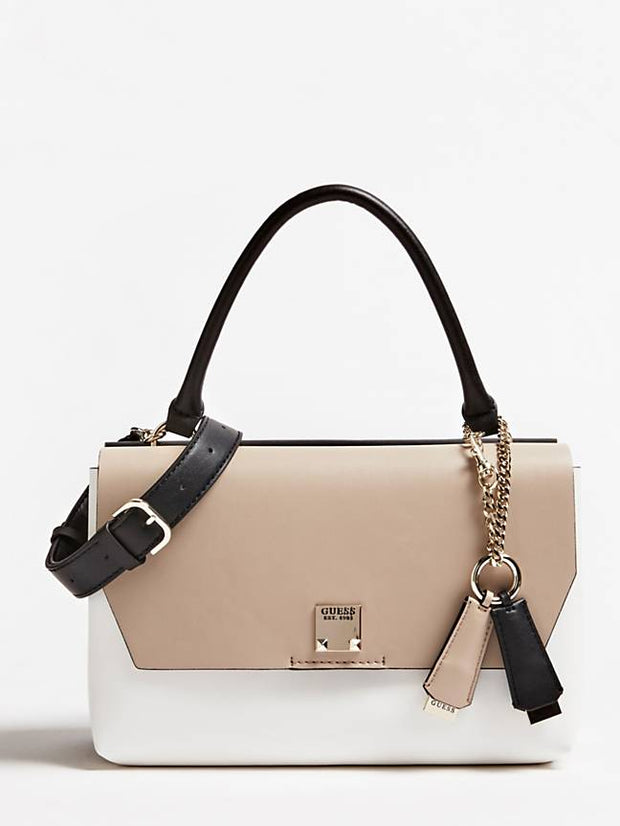 Guess Lenia Top Handle Flap Handbag - Stone Multi