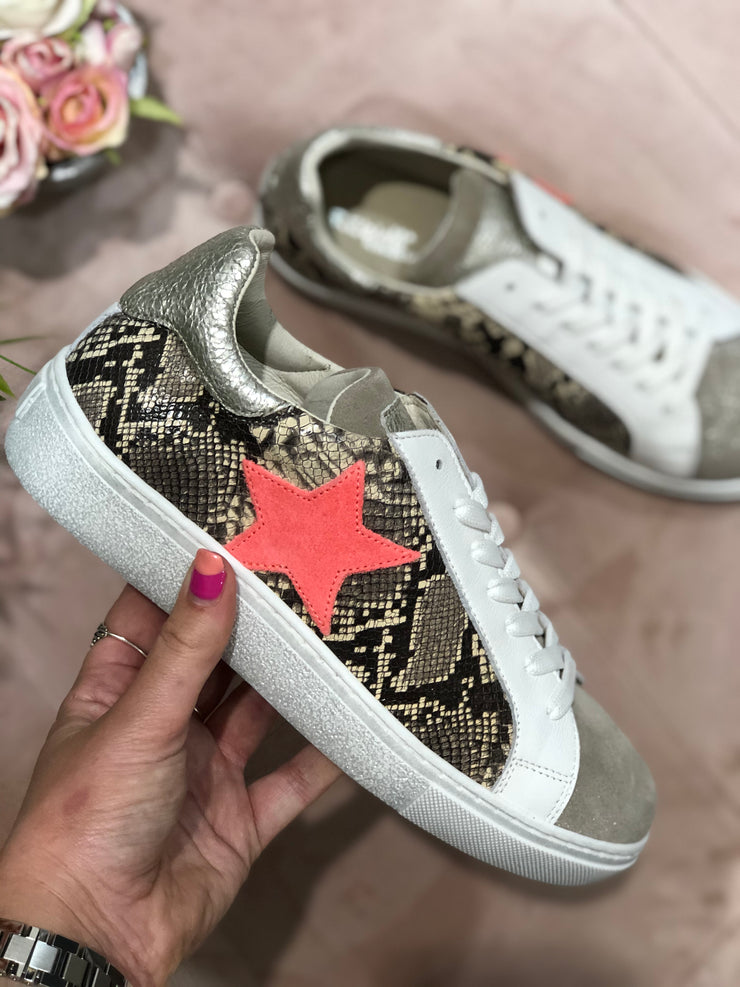 Snake Print Trainer Coral Star detail