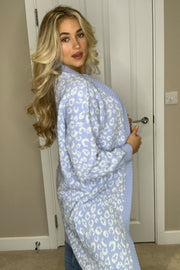 Vicky Animal Print Long Cardigan - Blue