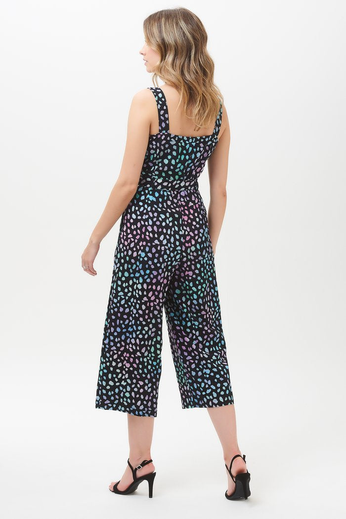 Millie Painterly Dot Batik Culotte Jumpsuit - Black/Multi
